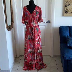 Asos gorgeous coral floral ruffle wrap maxi dress